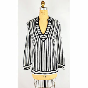Tory Burch Striped Long Sleeve Cotton Top